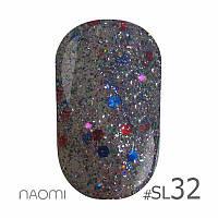 Гель-лак Naomi Self Illuminated Colllection №SI-32 (серебро с блестками, и красно-синими конфетти), 6 мл