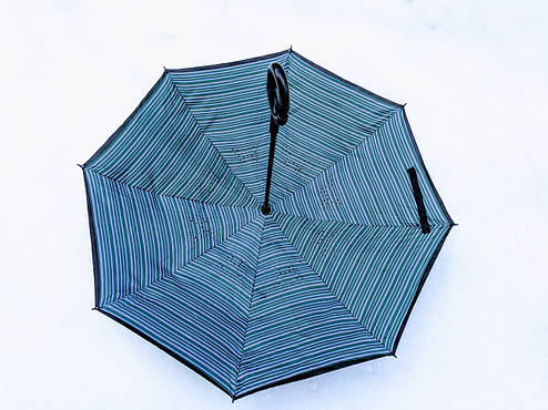 Зонт-наоборот, up-brella, механический, полоска, фото 2