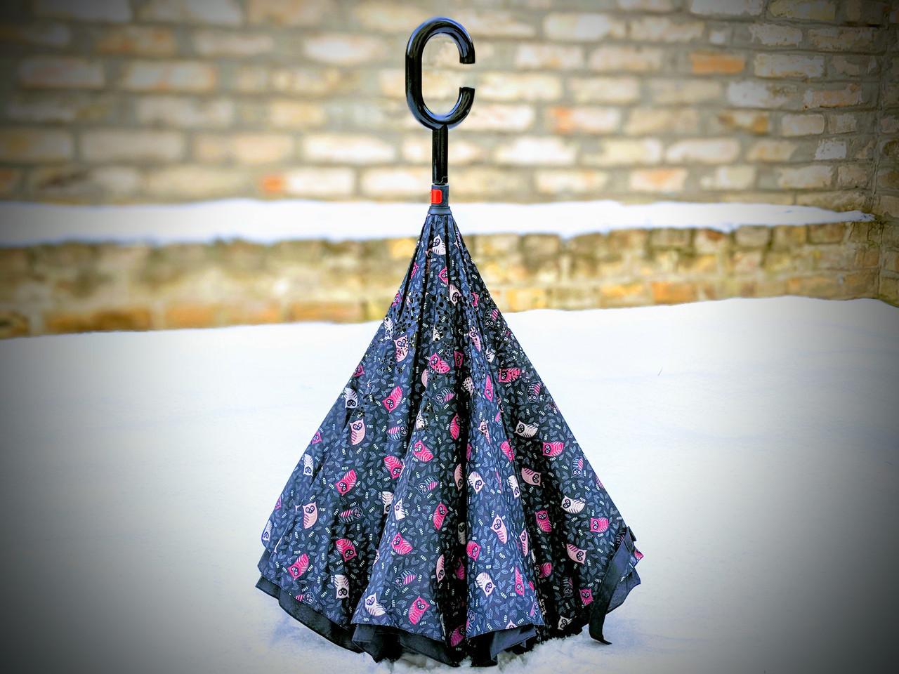 Зонт-наоборот, up-brella, механический, черный