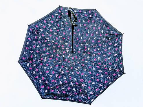 Зонт-наоборот, up-brella, механический, черный, фото 2