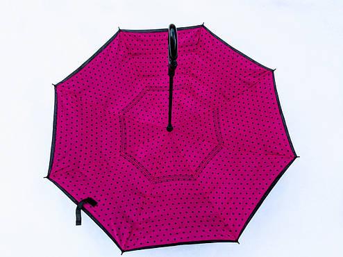 Зонт-наоборот, up-brella, механический, розовый, фото 2