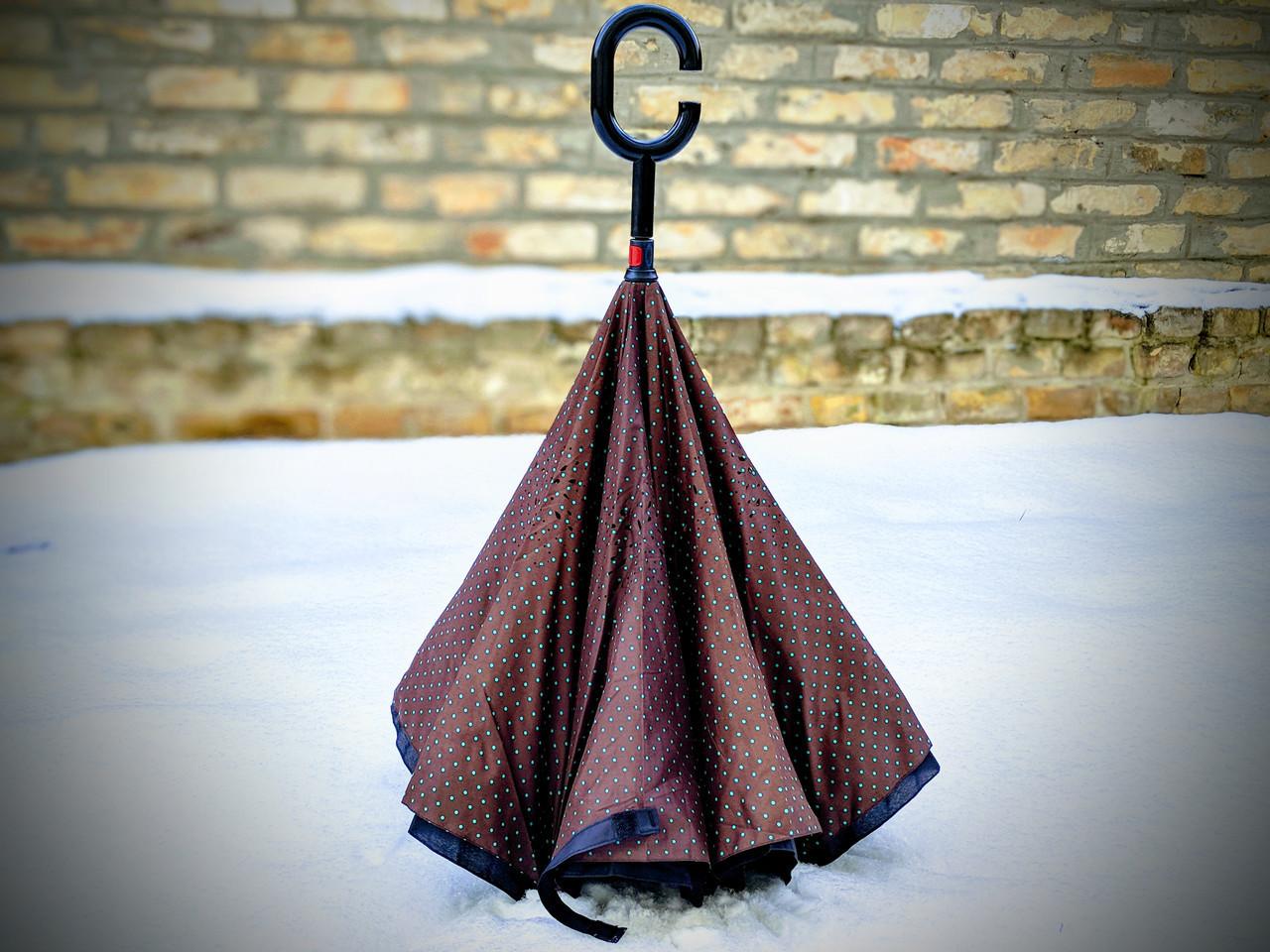 Зонт-наоборот, up-brella, механический, коричневый