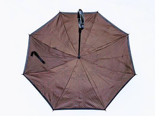 Зонт-наоборот, up-brella, механический, коричневый, фото 2