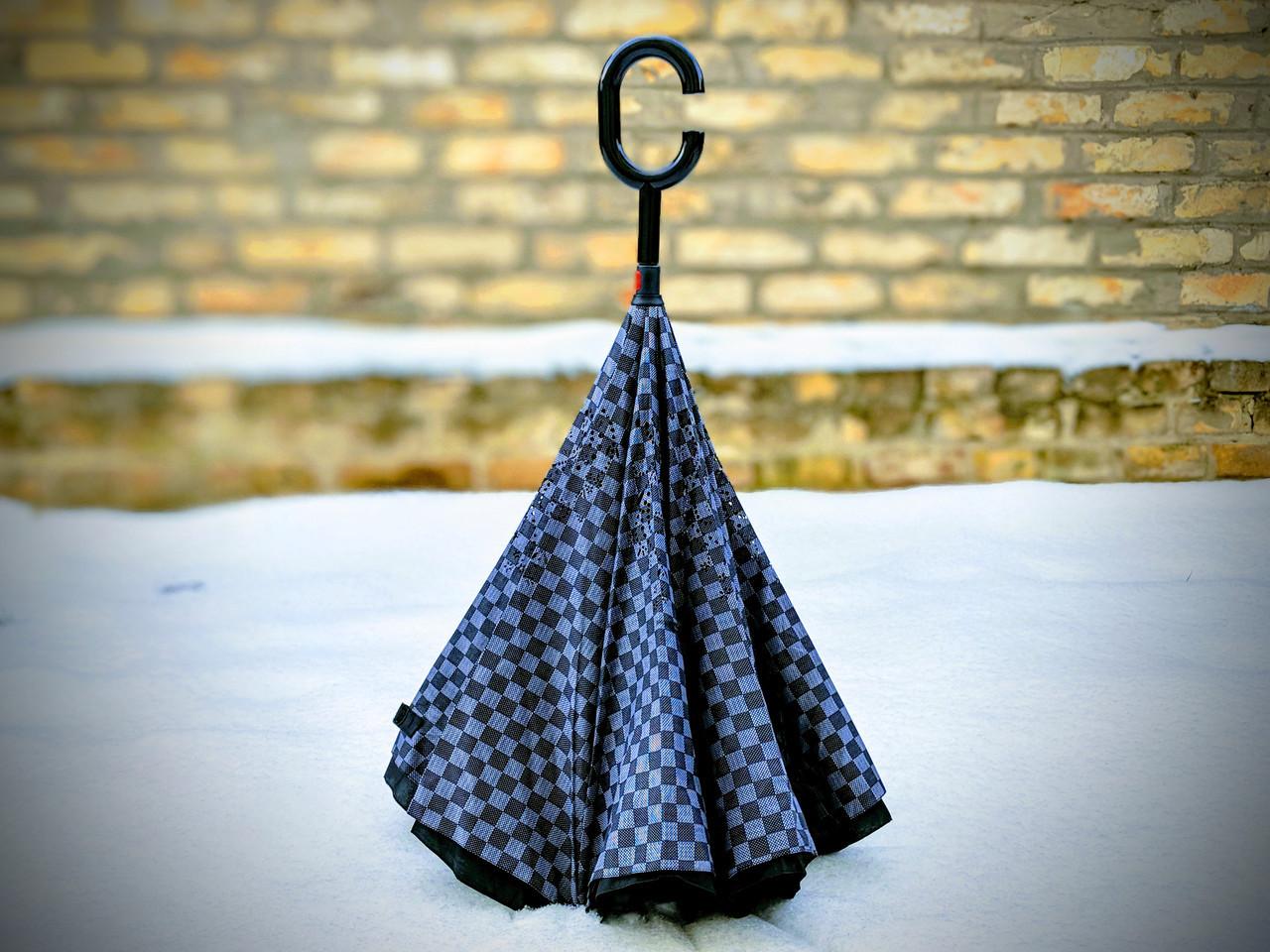 Зонт-наоборот, up-brella, механический, шахматная доска