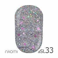 Гель-лак Naomi Self Illuminated Colllection №SI-33 (серебро с блестками, и салатово-розовым конфетти), 6 мл