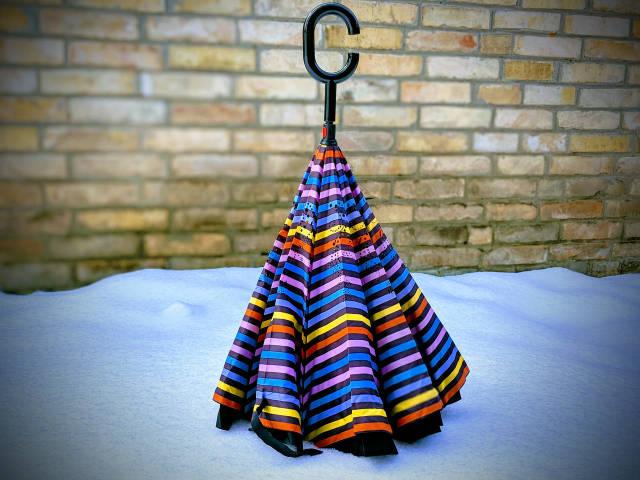 Зонт-наоборот, up-brella, механический, цветная полоска
