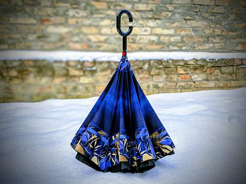 Зонт-наоборот, up-brella, механический, синий , фото 2