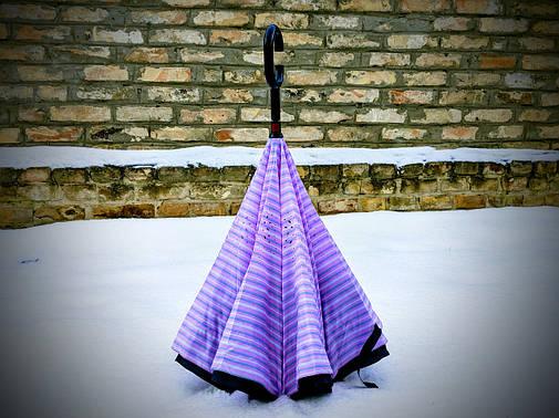 Зонт-наоборот, up-brella, механический, сиреневый в полоску, фото 2