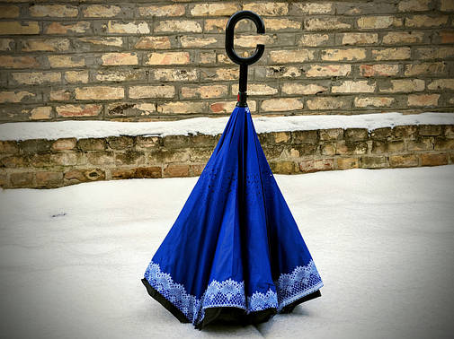 Зонт-наоборот, up-brella, механический, синий с вензелями, фото 2