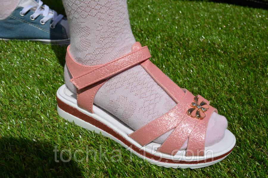 Детские сандали босоножки для девочки розовые персиковые, фото 1