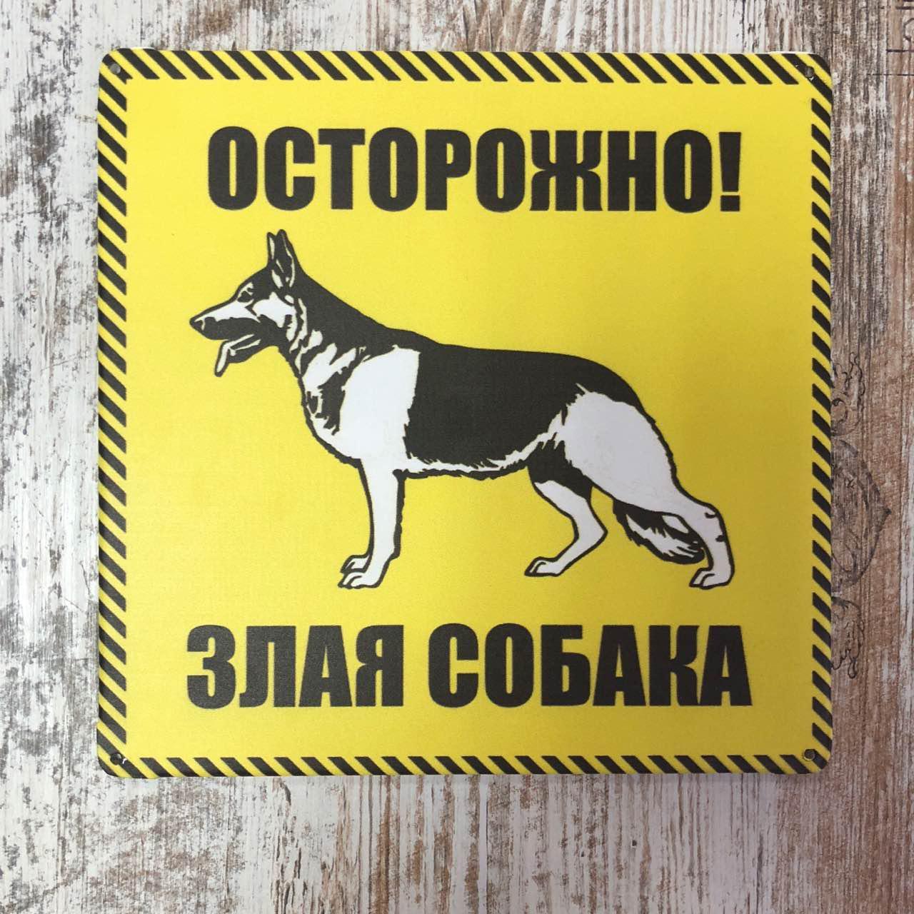 """Табличка """"Обережно, злий собака"""" 30*20 см"""