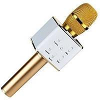 Караоке микрофон bluetooth Kronos Q7 gold  портативная колонка MicGeek