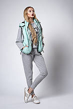 Женский молодежный утепленный жилет. Код модели ЖЛ-07-37-18. Цвет мята.