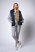 Женский молодежный утепленный жилет. Код модели ЖЛ-07-37-18. Цвет темно синий.