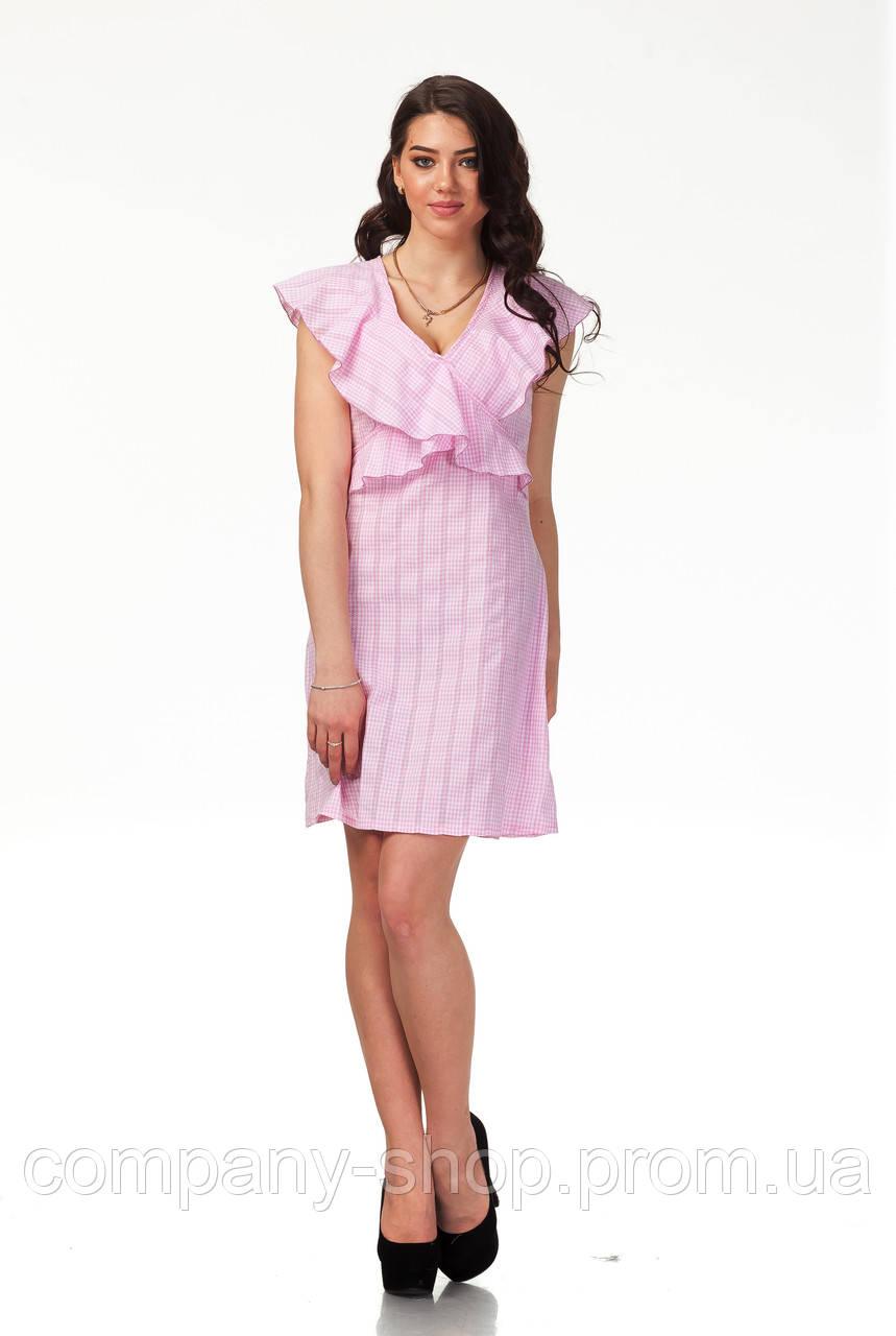 Платье с рюшами по груди оптом. Модель П113_хлопок розовая клетка.