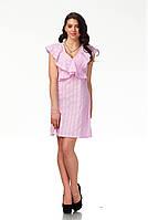 Платье с рюшами по груди оптом. Модель П113_хлопок розовая клетка., фото 1