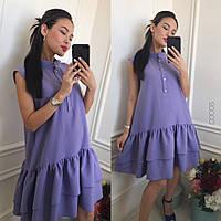Женское летнее платье с воланами с воротником стойкой, фото 1