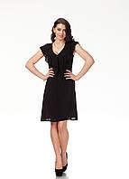 Платье с рюшами по груди оптом. Модель П113_жатка черная.
