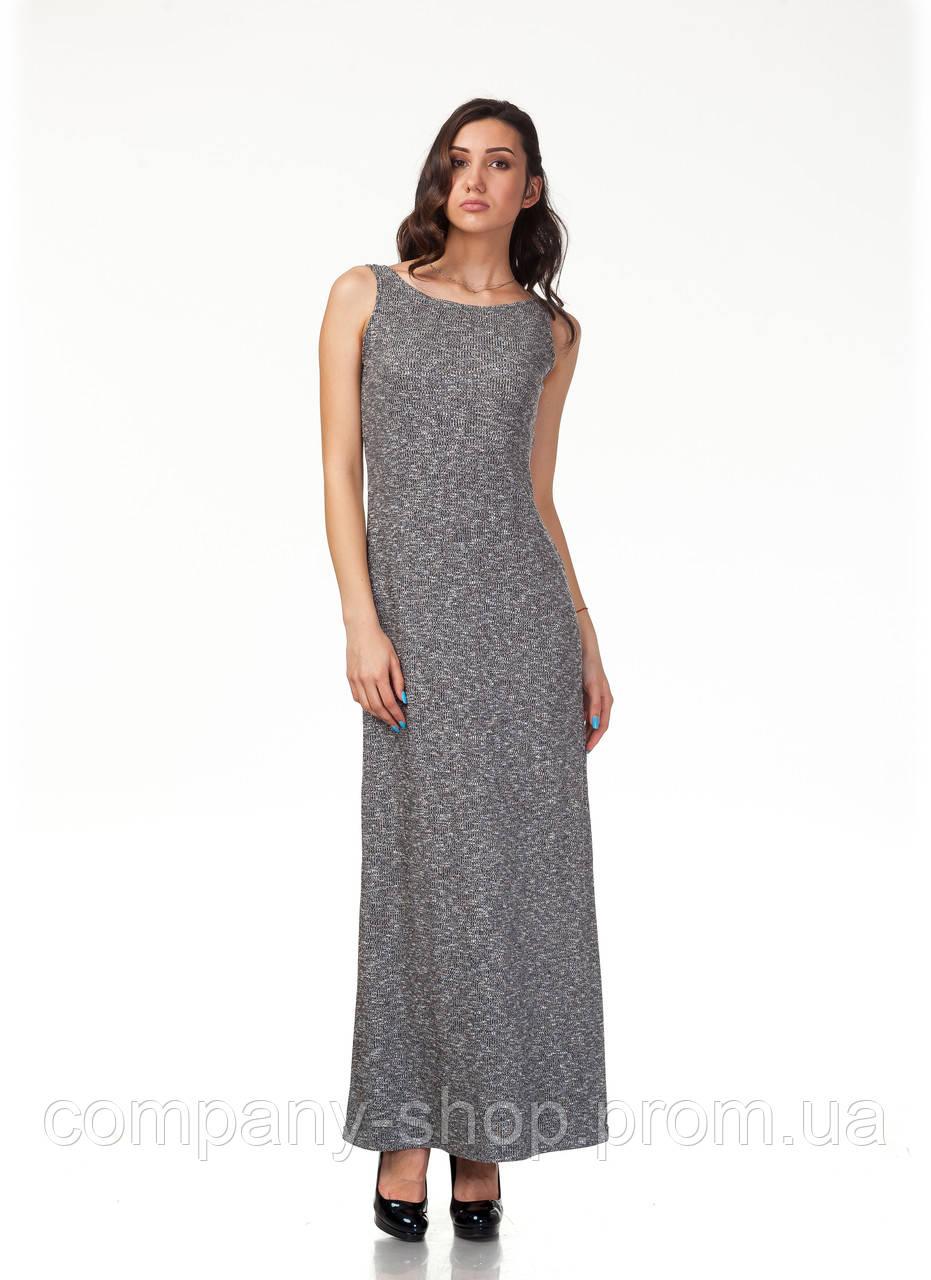 Платье трикотажное длинное. Модель П115_черный трикотаж.