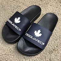 b38af202 Шлепанцы в стиле Dsquared2 Slide Sandals Logo Dark Blue/Black
