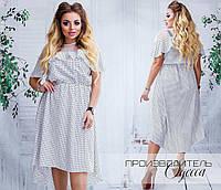 Женское платье с удлиненной спинкой. Ткань коттон. В наличии 3 цвета, фото 1