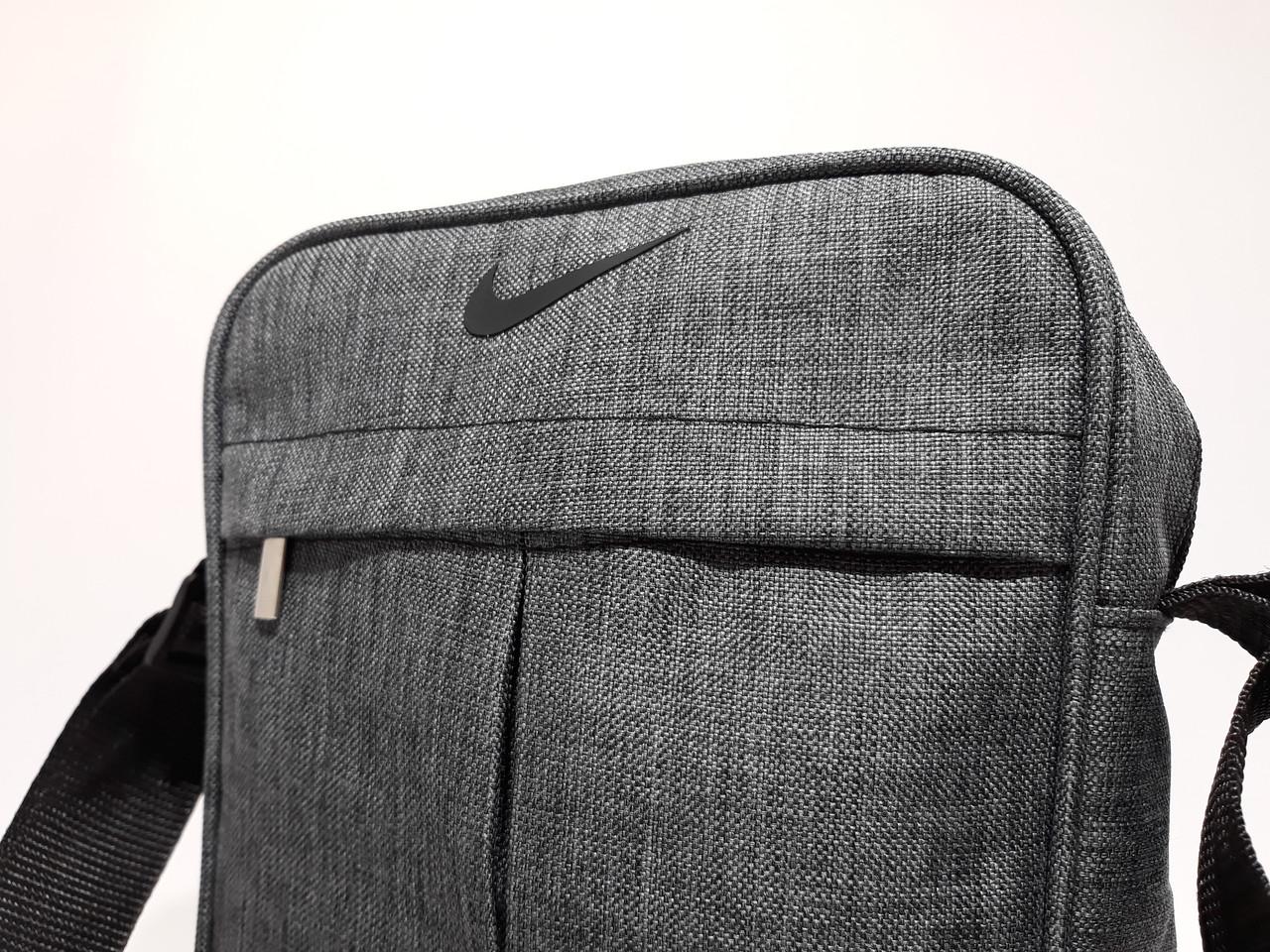 9233cc30 ... Мужская сумка через плече спортивного типа Nike реплика люкс качества,  Серая с темным оттенком, ...