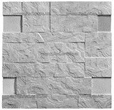 Фасадная термопанель c пенополистиролом 50мм Sunrock волна, белый цемент, 500x500мм