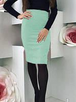 Женская миди юбка, прямая юбка с жемчугом (бусины). Размеры норма, разные цвета., фото 1