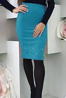 Женская миди юбка, прямая юбка с жемчугом (бусины). Размеры норма, разные цвета.