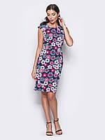 Ошатне жіноче полуприталенное сукні з яскравим принтом Modniy Oazis рожевий 90297/2