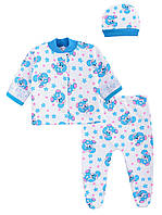 Комплект ясельный Подарочный футер цветной (Мальчик) (40 (62) Белый с голубыми зайчиками и голубой окантовкой)