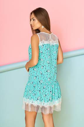 Красивое платье короткое полуприталенное с кружевами ментоловое, фото 2