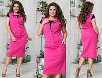 Женский летний костюм с юбкой. Ткань лён.  Размер 48-50, 52-54, 56-58. В наличии 5 цветов, фото 1