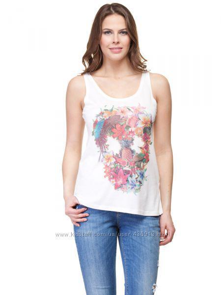 Белая женская майка LC Waikiki / ЛС Вайкики в разноцветные цветы