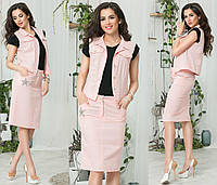 Женский летний костюм  с юбкой. Ткань лён. Размер 42-44, 44-46. В наличии 5 цветов, фото 1