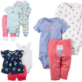 Комплекты одежды для девочек от 0 до 24 месяцев: 3в1, 4в1, Веселые попки