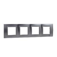 Рамка 4-местная Матовый хром/Алюминий Unica Schneider, MGU66.008.038