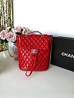 Женский кожаный рюкзак CHANEL красный (реплика), фото 1