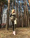 Ультрамодный велюровый женский спортивный костюм С-ка оливковый, фото 2