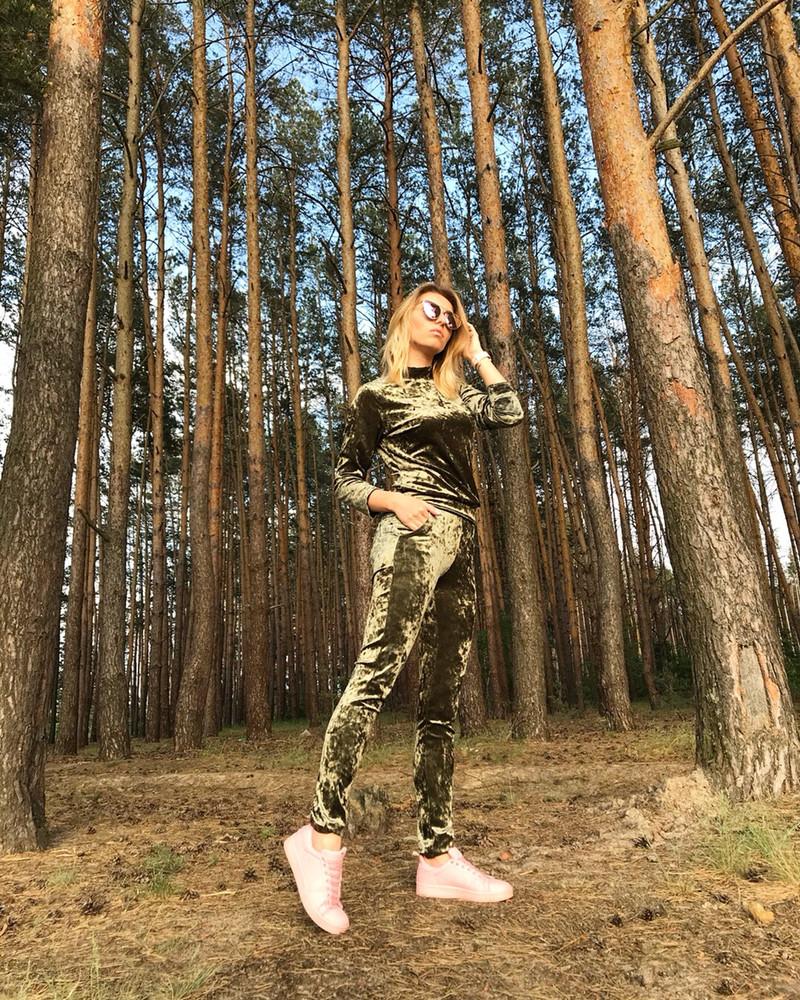 Ультрамодный велюровый женский спортивный костюм С-ка оливковый