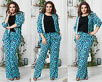 Женский летний костюм, ткань штапель. Размер 48-50, 52-54, 56-58. В наличии 4 цвета, фото 1