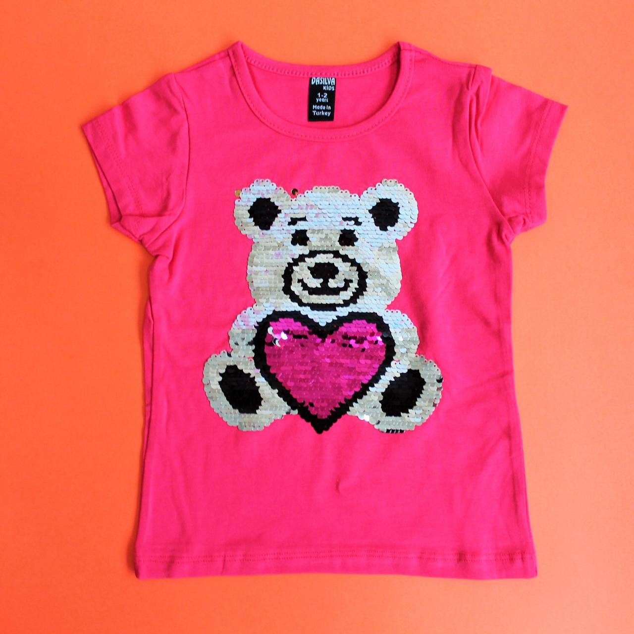 Детская футболка с пайетками размеры 1-2