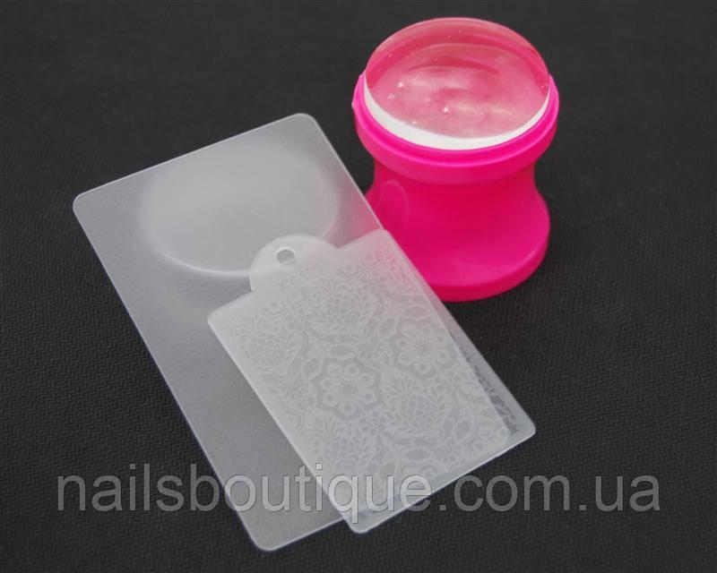 Печать силиконовая с трафаретом розовая