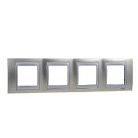 Рамка 4-местная Матовый никель/Алюминий Unica Schneider, MGU66.008.039