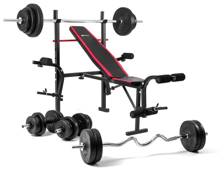 Набор Hop-Sport Premium 128 кг со скамьей HS-1055