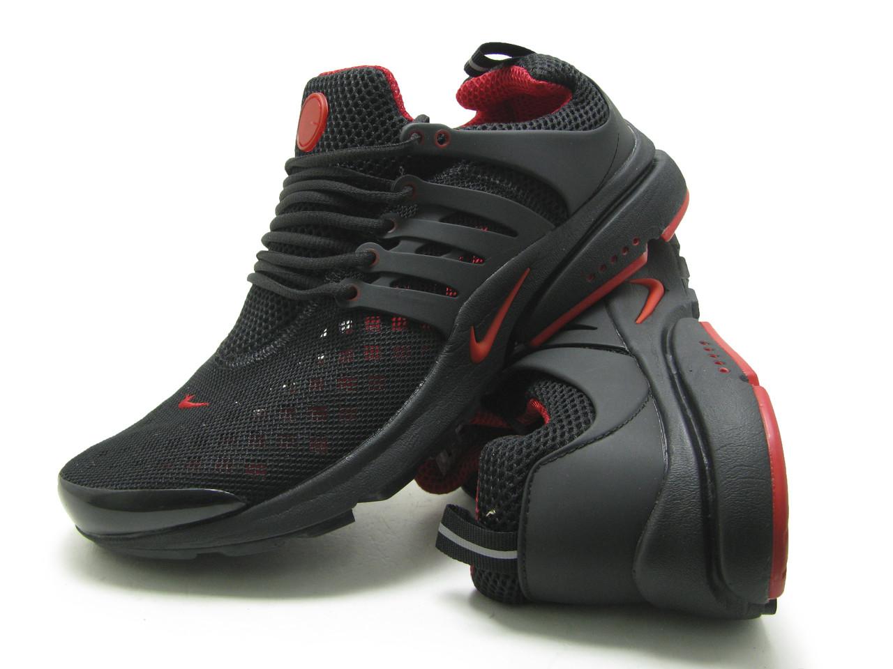 Кроссовки мужские Nike Air Presto сетка, черно-скрасн