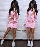 Женский стильный джинсовый костюм в горошек: жакет и юбка-трапеция (3 цвета), фото 2