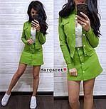 Женский стильный джинсовый костюм в горошек: жакет и юбка-трапеция (3 цвета), фото 5