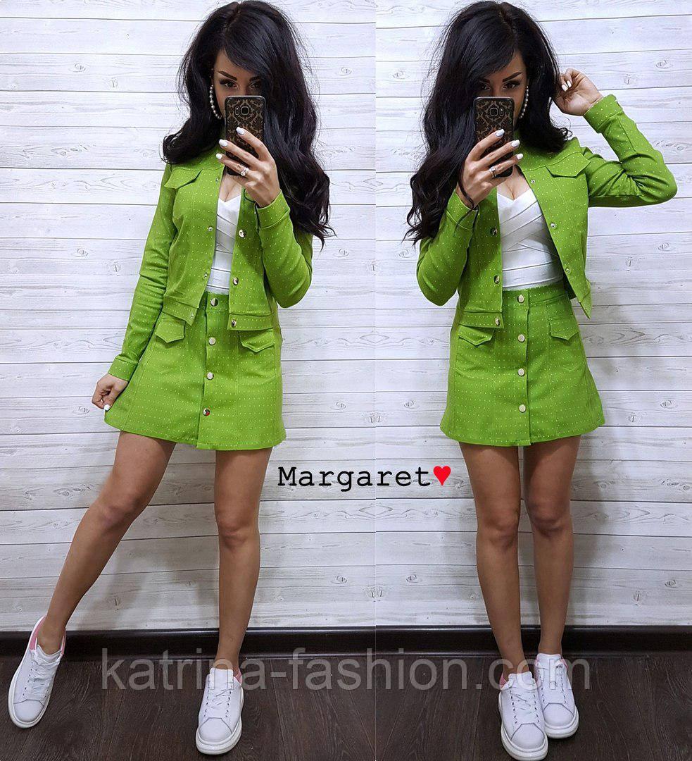 Женский стильный джинсовый костюм в горошек: жакет и юбка-трапеция (3 цвета)
