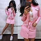 Женский стильный джинсовый костюм в горошек: жакет и юбка-трапеция (3 цвета), фото 6